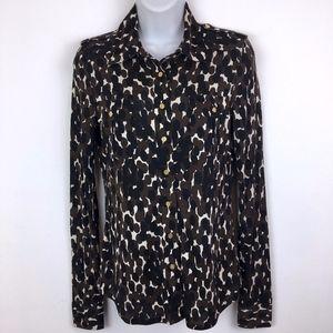 Tory Burch silk button down blouse black brown XS